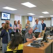 TILE Labs: Summer Essentials - The group learns how to use the technology in 350 Van Allen