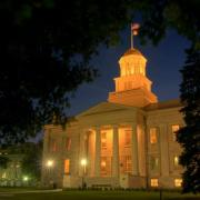 The Old Capitol at night. Original photo provided by University Communication and Marketing Photography University of Iowa.