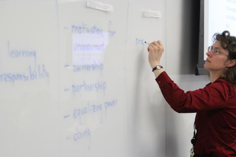 TILE Instructor writing on a white board